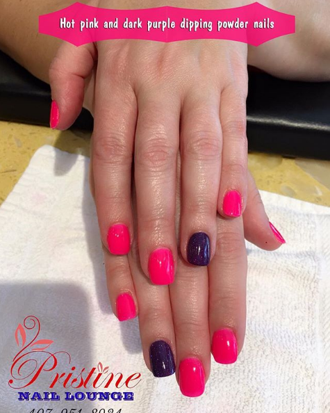 ANYTHING IS POSSIBLE WITH PINK NAILSWanna enhance your elegant and gentle outlook The Pink shade is always a right choiceMake some more accent with dark purple and this design is complete Now you are ready to become glamorous Own it now and be marvelous with Pristine Nails Lounge INBOX us now to make appointmentspristinenaillounge florida orlando maitland altamonte altamontespring oviedo lakemary longwood winterpark winterparkvillage DippingPowderNails Pinknails Darkpurpleaccentfinger